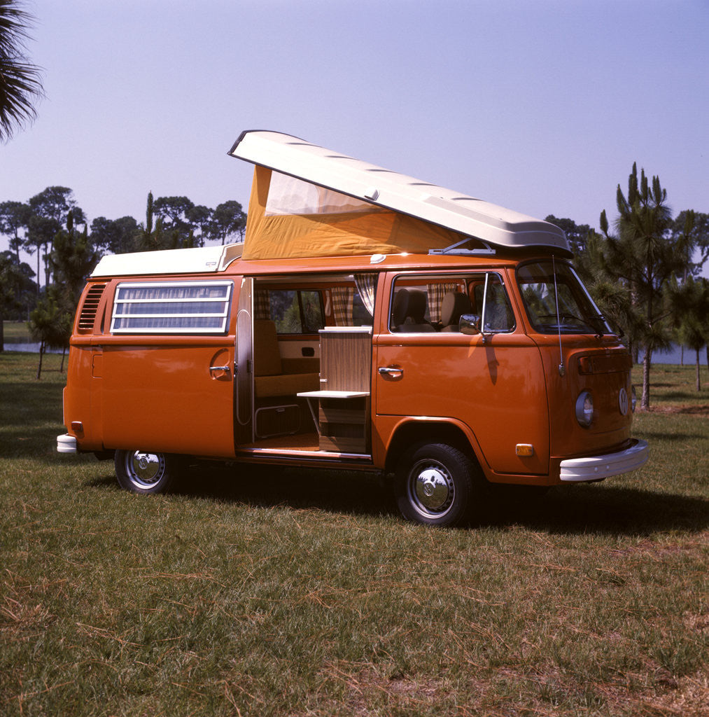 Detail of 1970s Orange and White Volkswagen Bus Westfalia Motor Home by Corbis