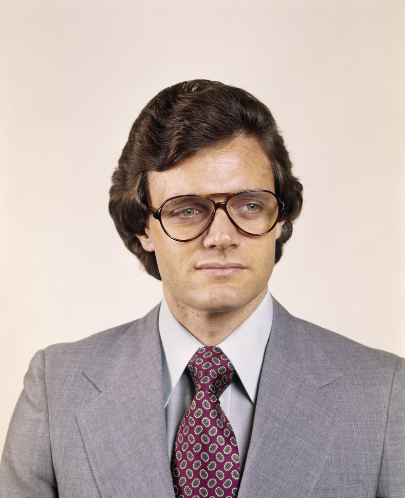 1970s Man Portrait Business Suit Serious Expression Aviator Eyeglasses Fashion Retro