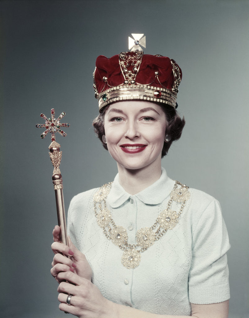 Detail of 1950s Woman Wearing A Crown Holding A Scepter, Special Queen For Day by Corbis