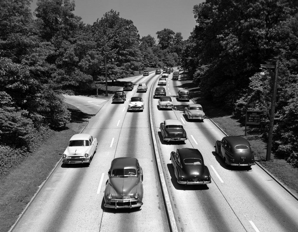 Detail of 1950s Highway Traffic On Grand Central Parkway Looking East From 188th Street Overpass by Corbis