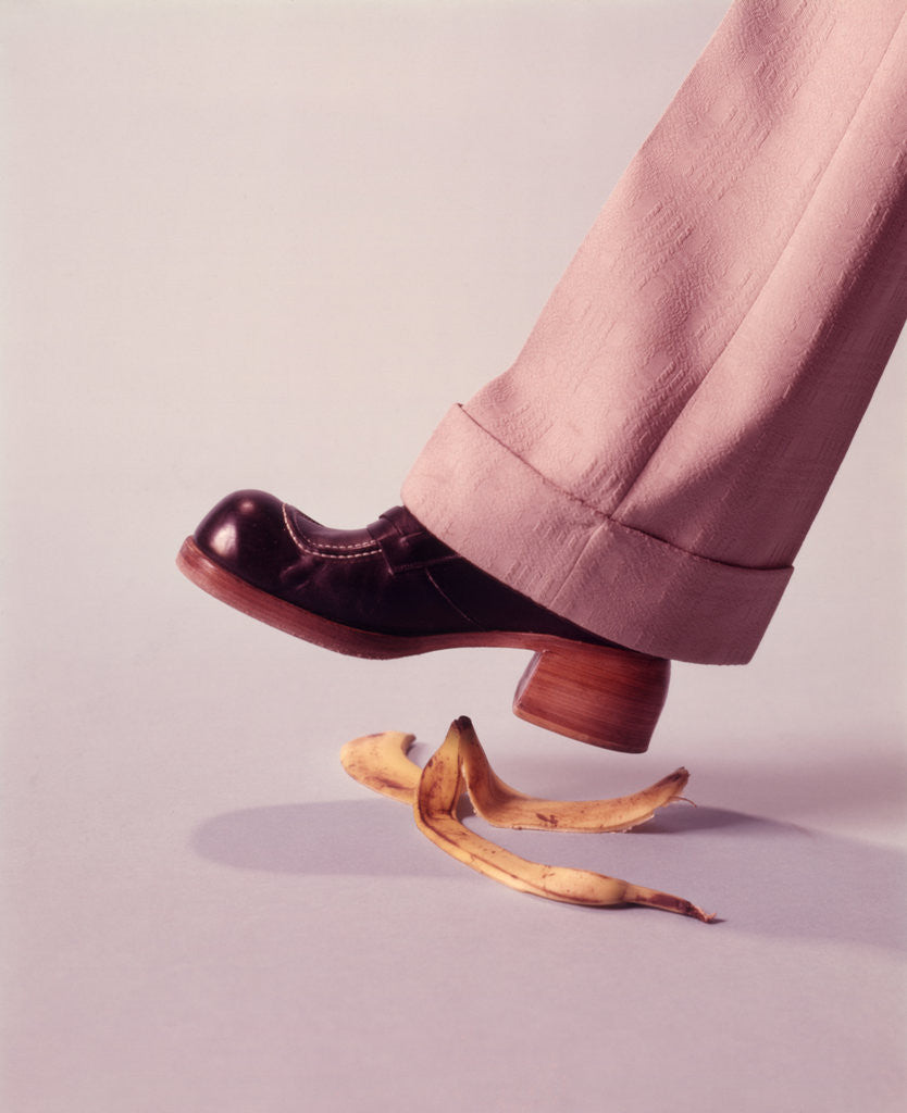 Detail of 1970s Man About To Slip On Banana Peel by Corbis