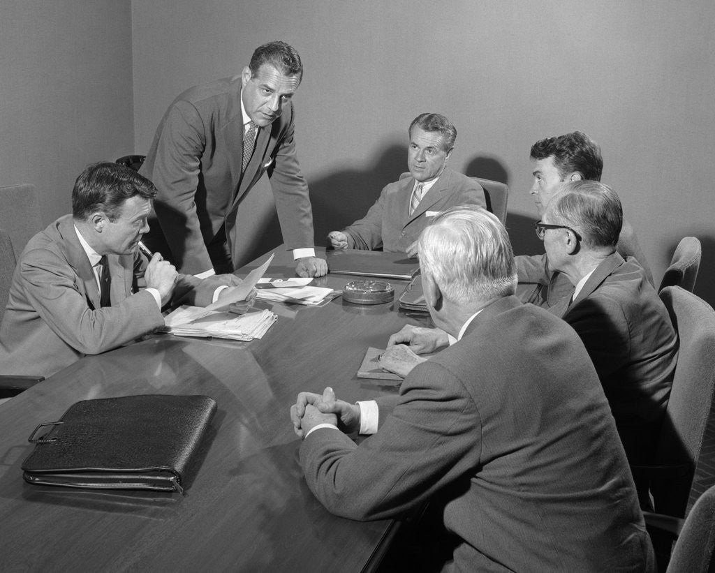 Detail of 1950s Six Businessmen Executives Around A Conference Table Talking by Corbis