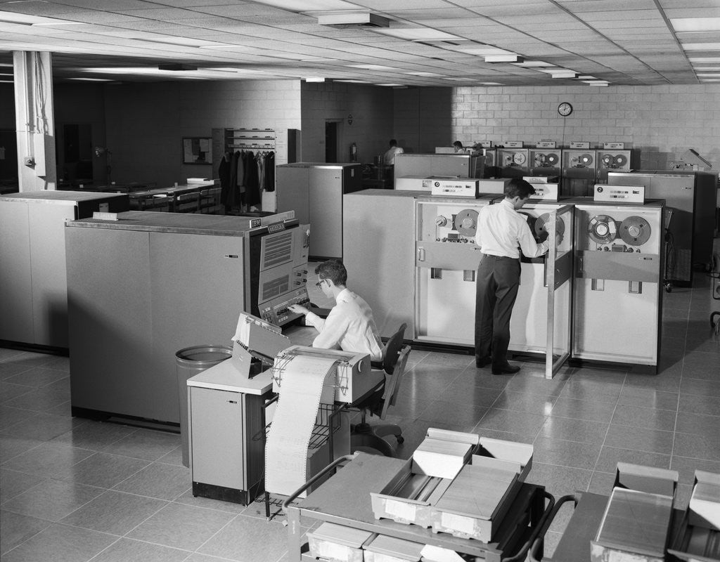 1960s Two Men Technicians Working In Ibm 360 Mainframe Computer Room