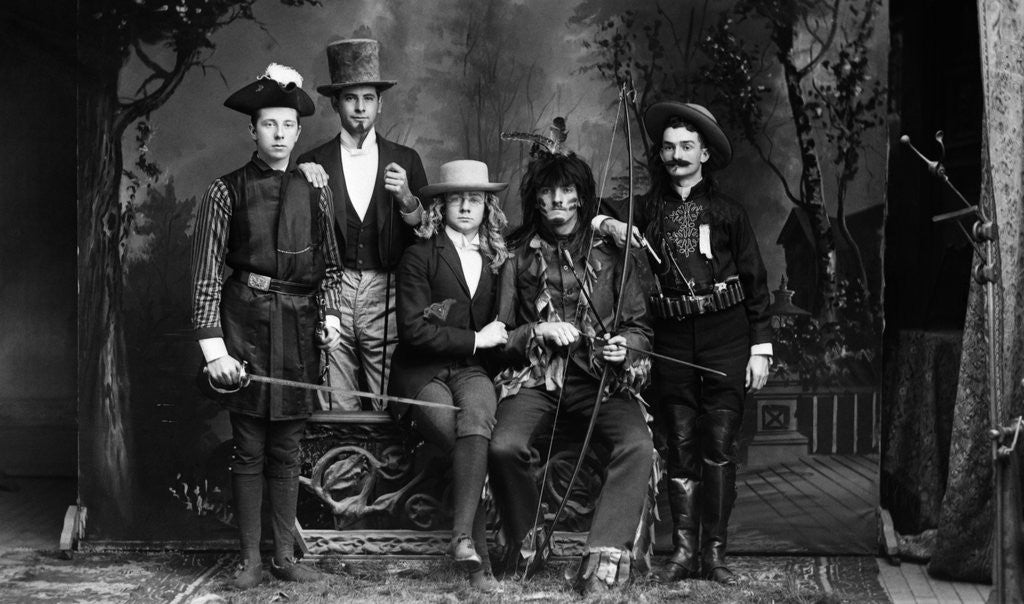 Detail of 1890s 1900 Portrait Five Men Actors In Various Costumes Against Painted Studio Backdrop by Corbis