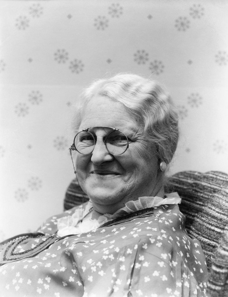 1930s Portrait Of Elderly White Hair Woman Wearing Pince-Nez Glasses