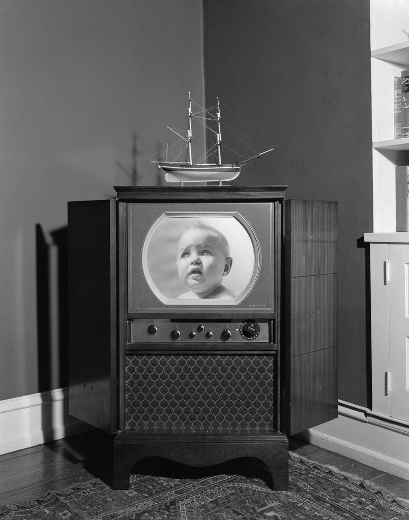 Detail of 1940s 1950s Console Black And White Television Set by Corbis