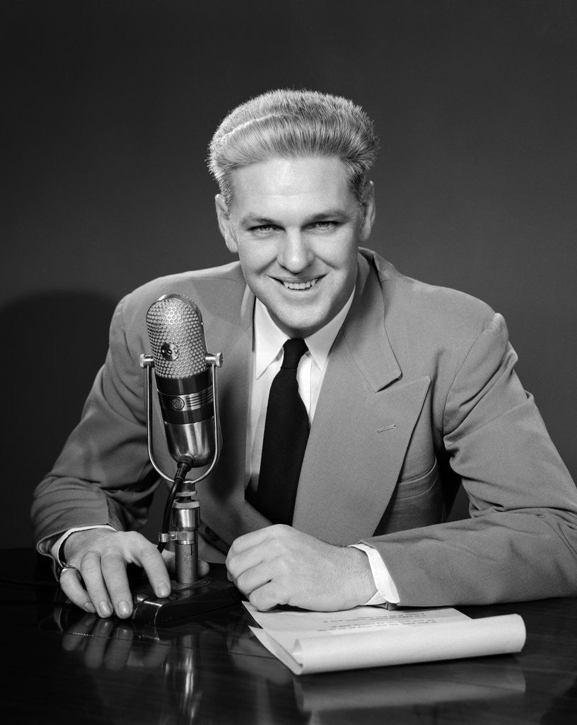 1950s Man Radio Announcer Newscaster Sitting Speaking At ...