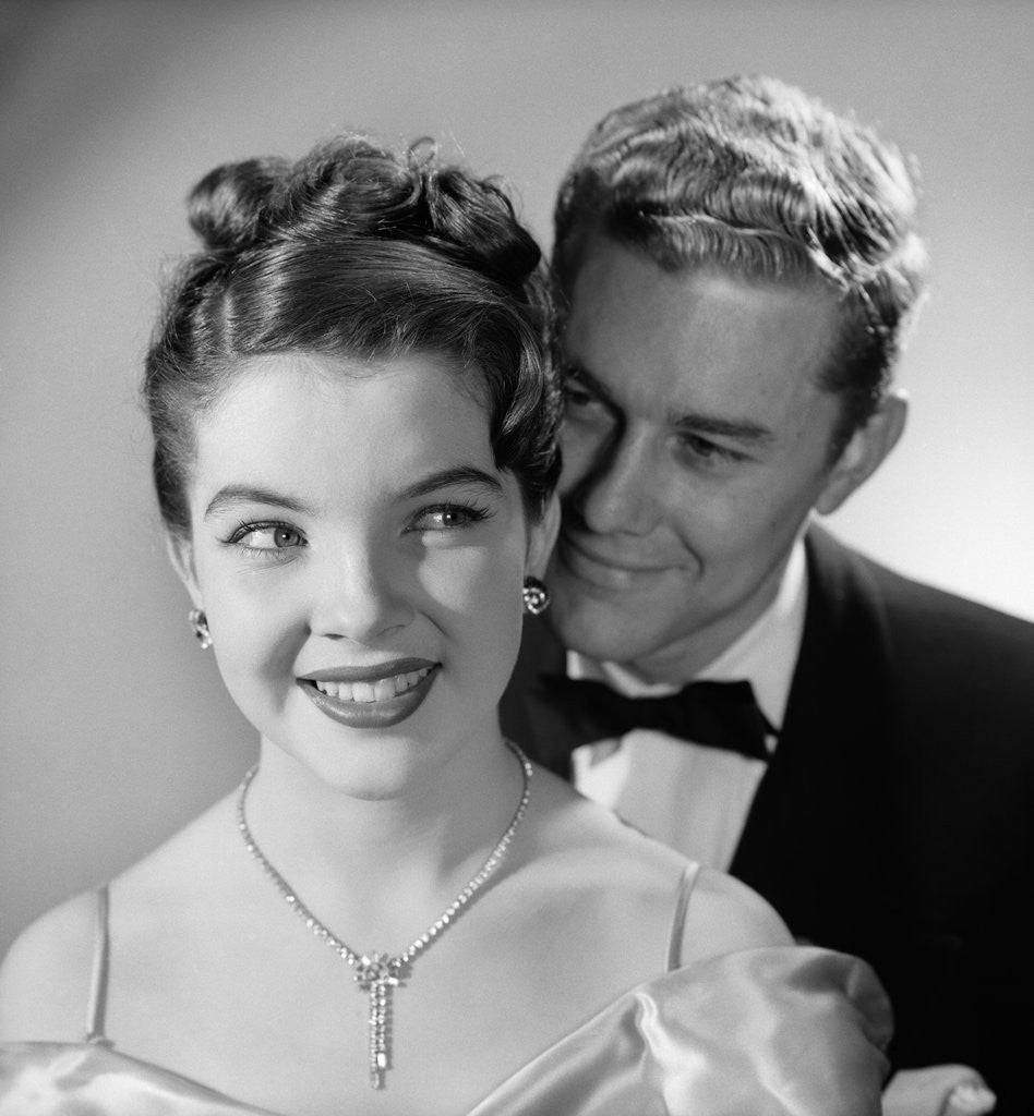 Detail of 1950s 1960s Happy Couple Wearing Formal Evening Attire by Corbis