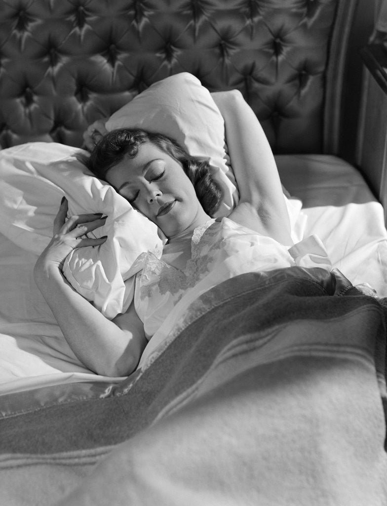 Detail of 1940s 1950s Woman Asleep In Bed by Corbis