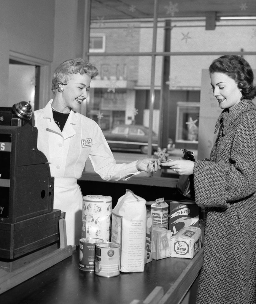 Detail of 1950s Woman Grocery Store Checkout Female Cashier by Corbis