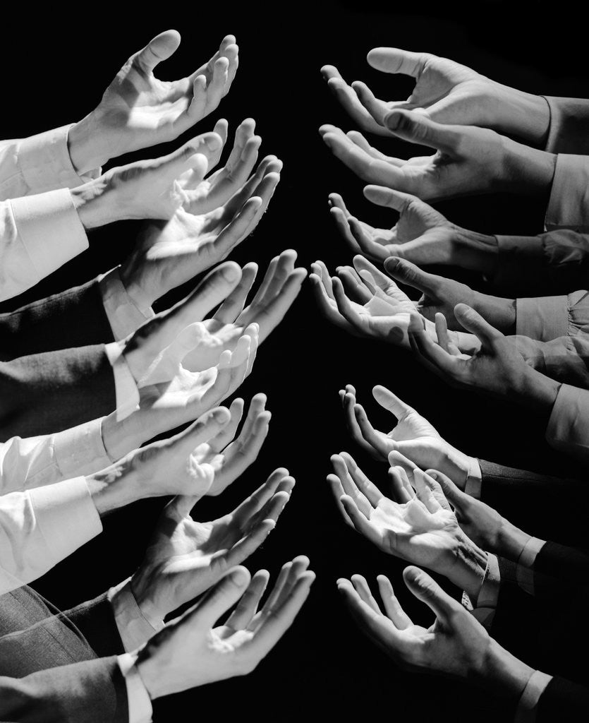 Detail of 1960s Multiple Exposure Montage Male Hands Begging For A Hand Out by Corbis