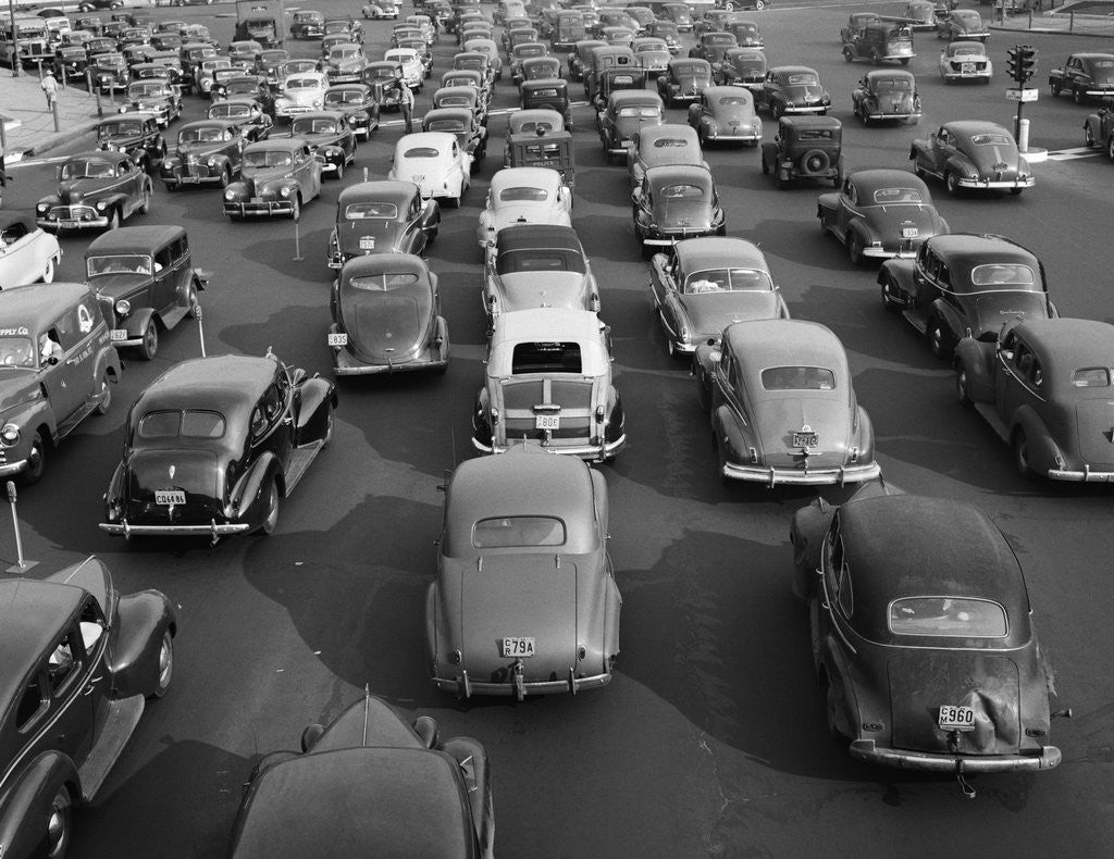 Detail of 1940s 1948 View Of Traffic Jam On Multi Lane Highway Bridge Approach Crawling In Both Directions by Corbis