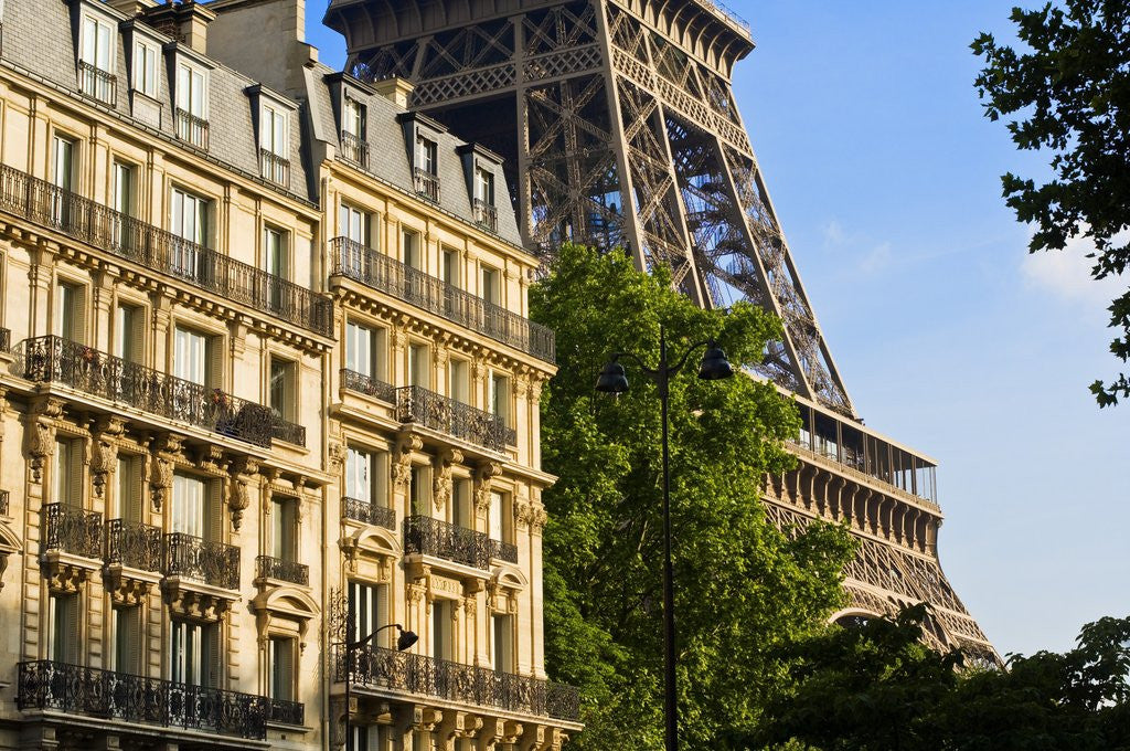 Detail of Eiffel Tower and Apartment Buildings by Corbis