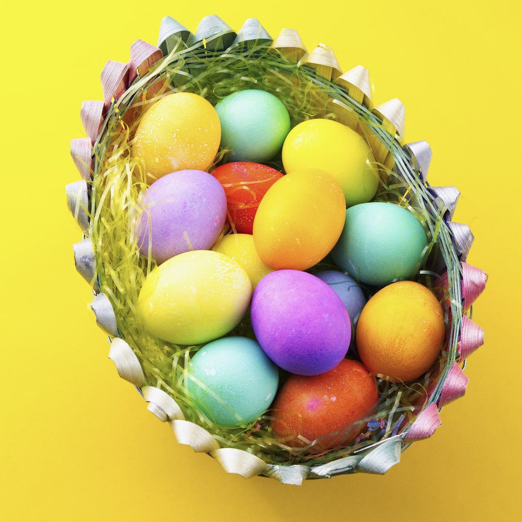 Detail of Basket with Easter eggs by Corbis