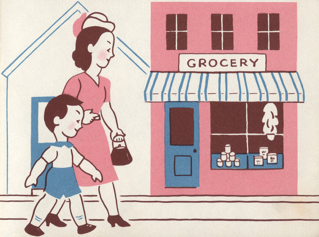 Detail of Illustration of Mother and Son Walking by Grocery Store by Lois Lenski