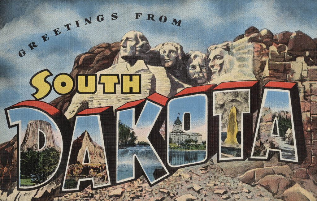 Detail of Greetings from South Dakota Postcard by Corbis