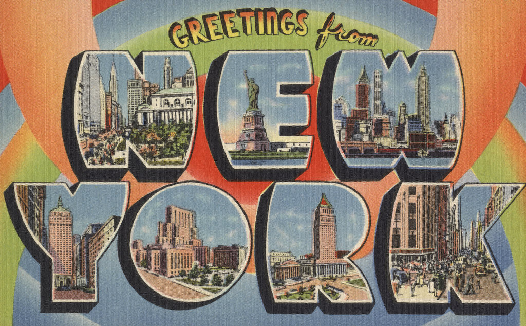 Detail of Greetings from New York Postcard by Corbis
