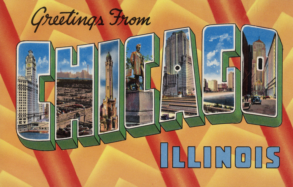 Detail of Greetings from Chicago Illinois Postcard by Corbis
