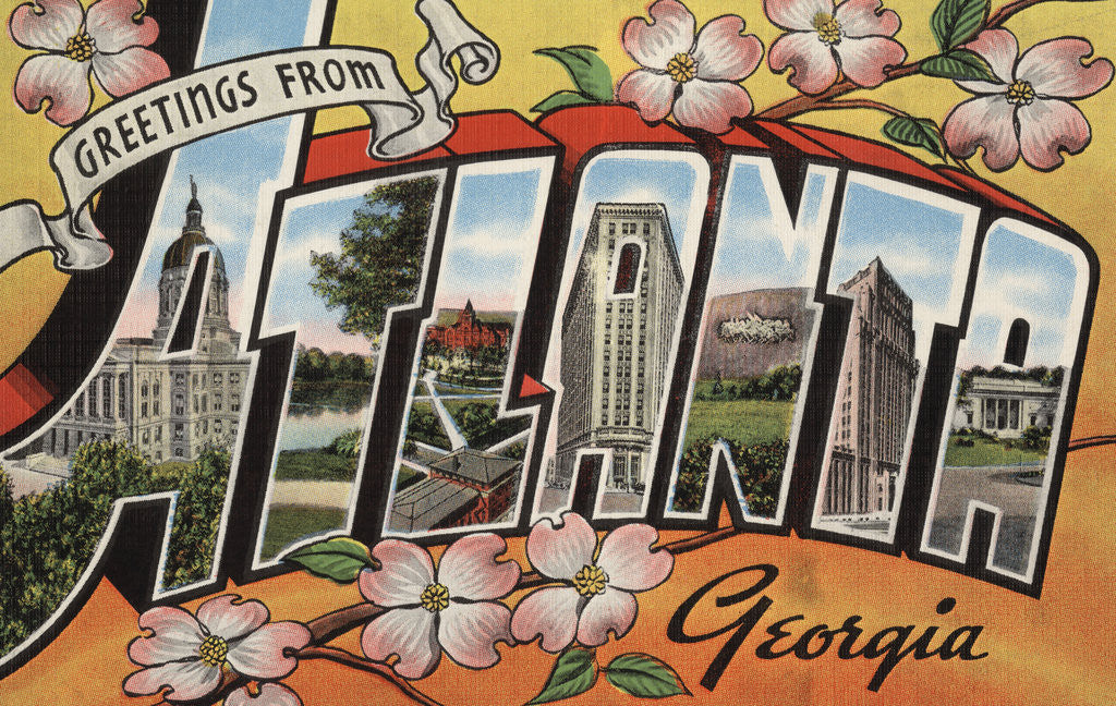 Detail of Greetings from Atlanta Georgia Postcard by Corbis