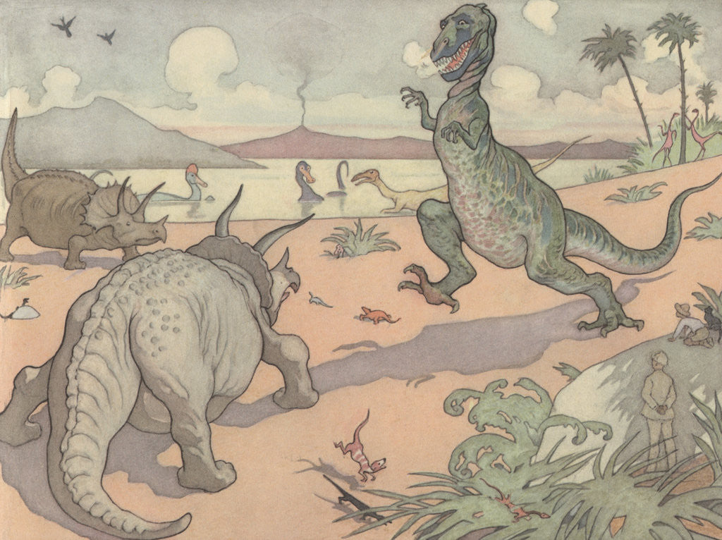 Detail of Illustration of Animals of the Cretaceous Period by E. Boyd Smith