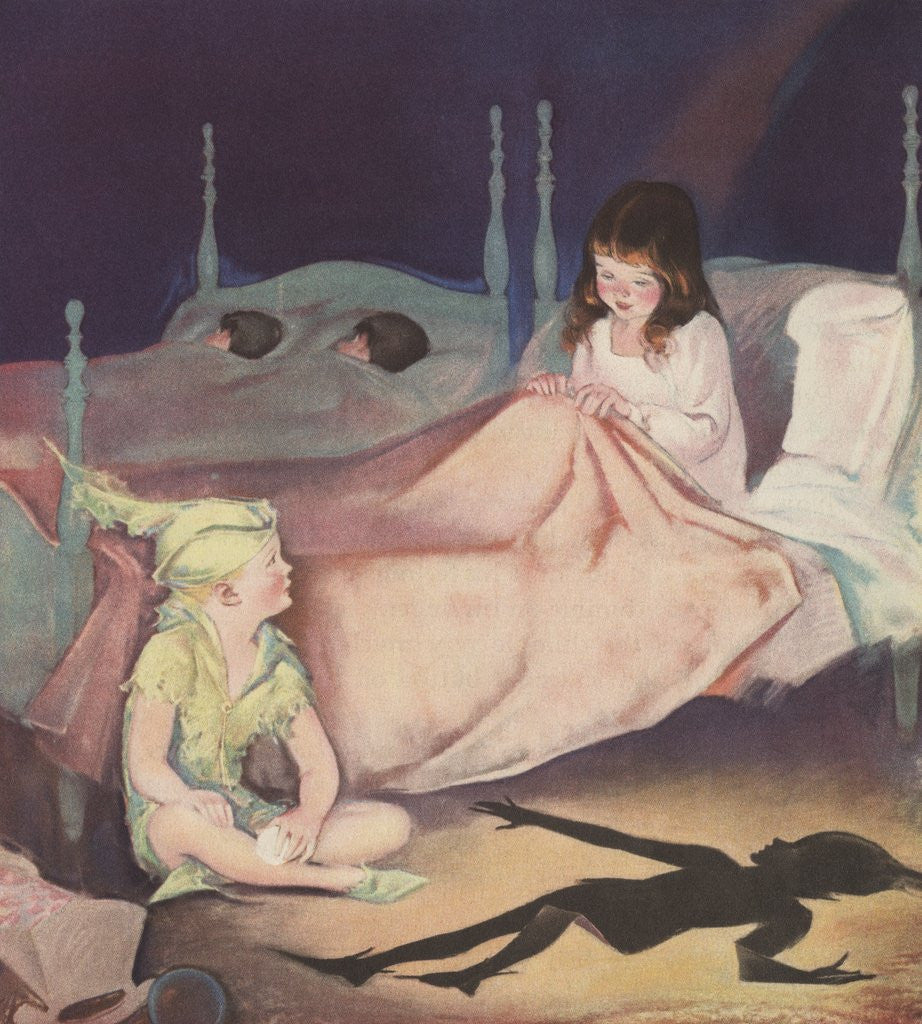 Illustration of Peter Pan and Wendy Talking at Night