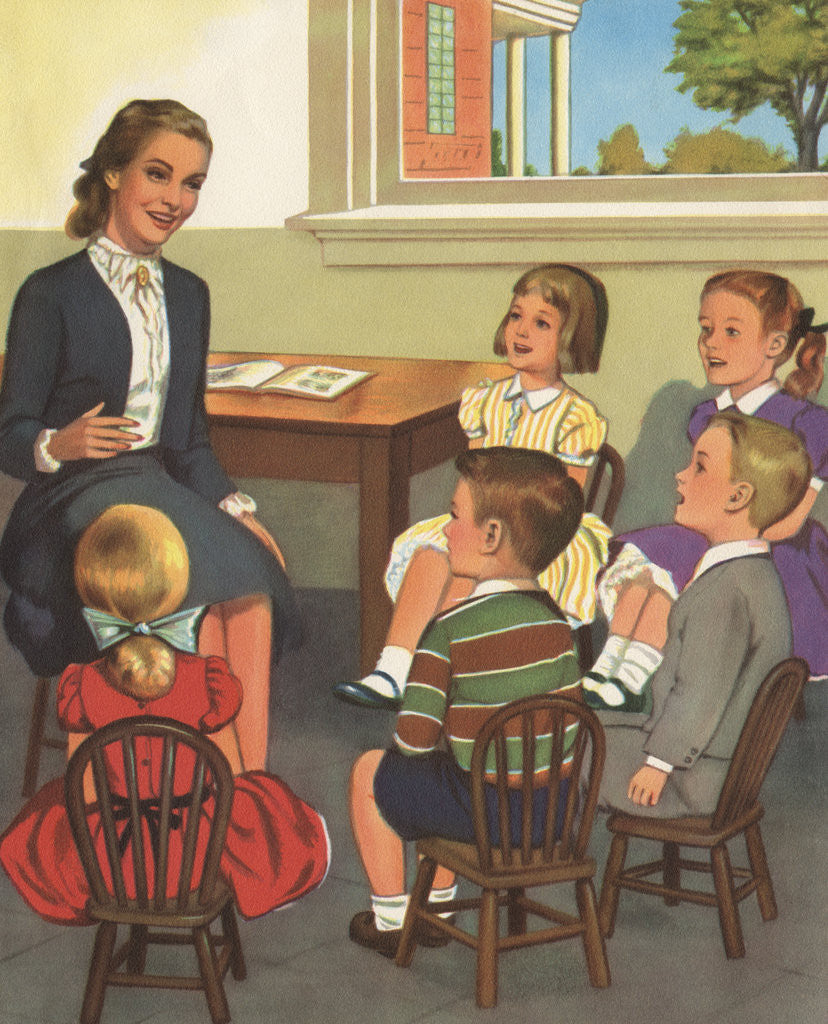Detail of Calendar Illustration of Children Singing in Sunday School by Corbis
