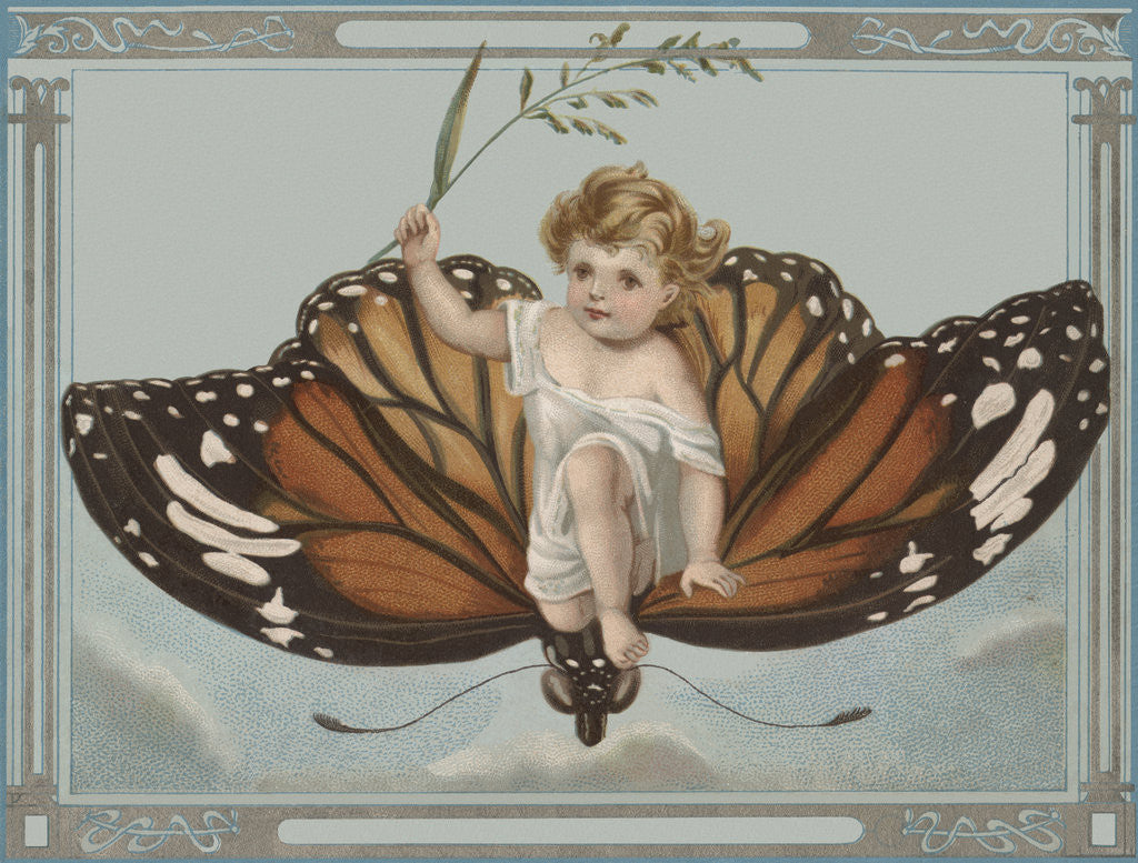 Postcard of Child Riding on Butterfly