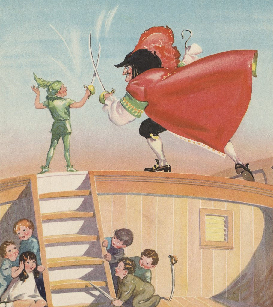 Illustration of Peter Pan and Captain Hook Sword Fighting