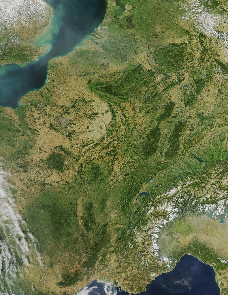 Detail of Central France and Western Europe on a Rare Clear Day by Corbis