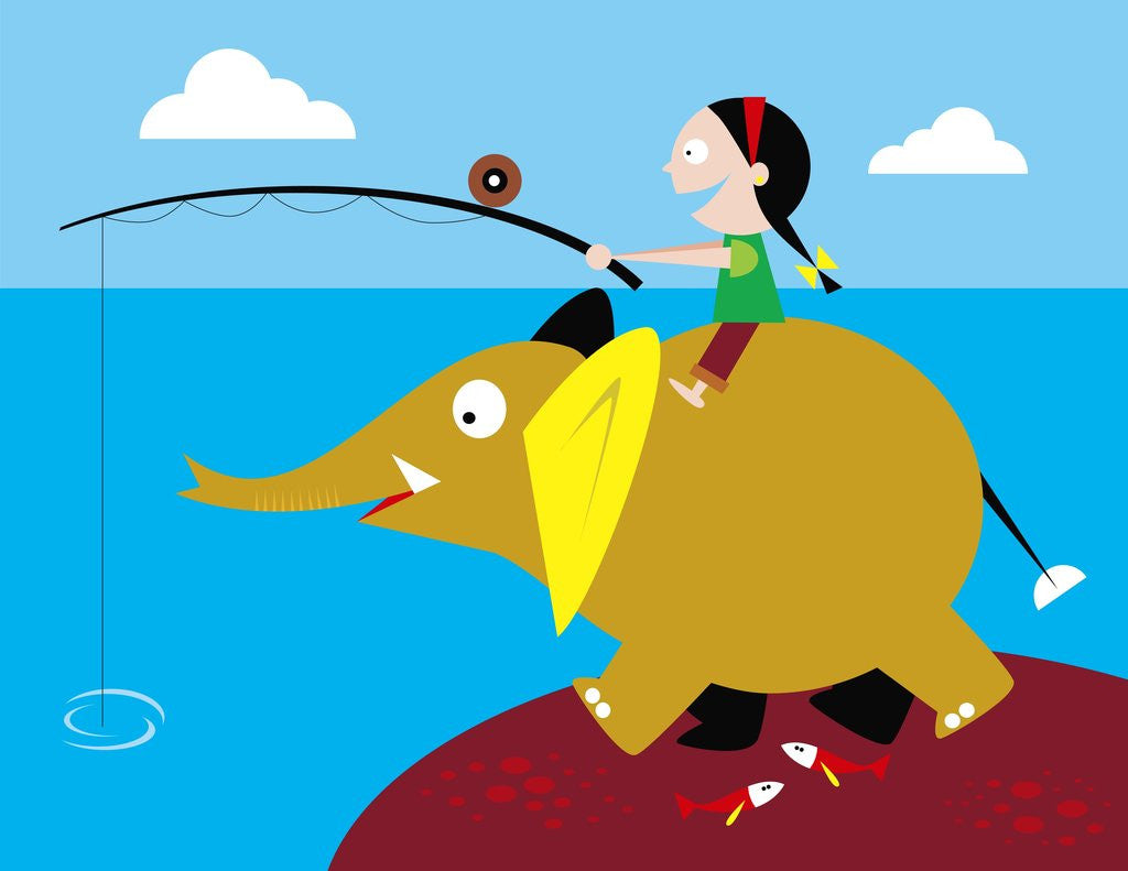 Detail of Girl fishing from friendly elephant's back by Corbis