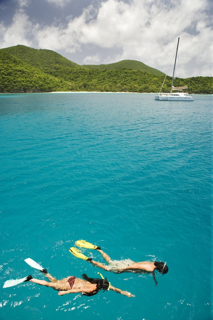 Detail of Couple Snorkeling in Hawksnest Bay at St. John Island by Corbis