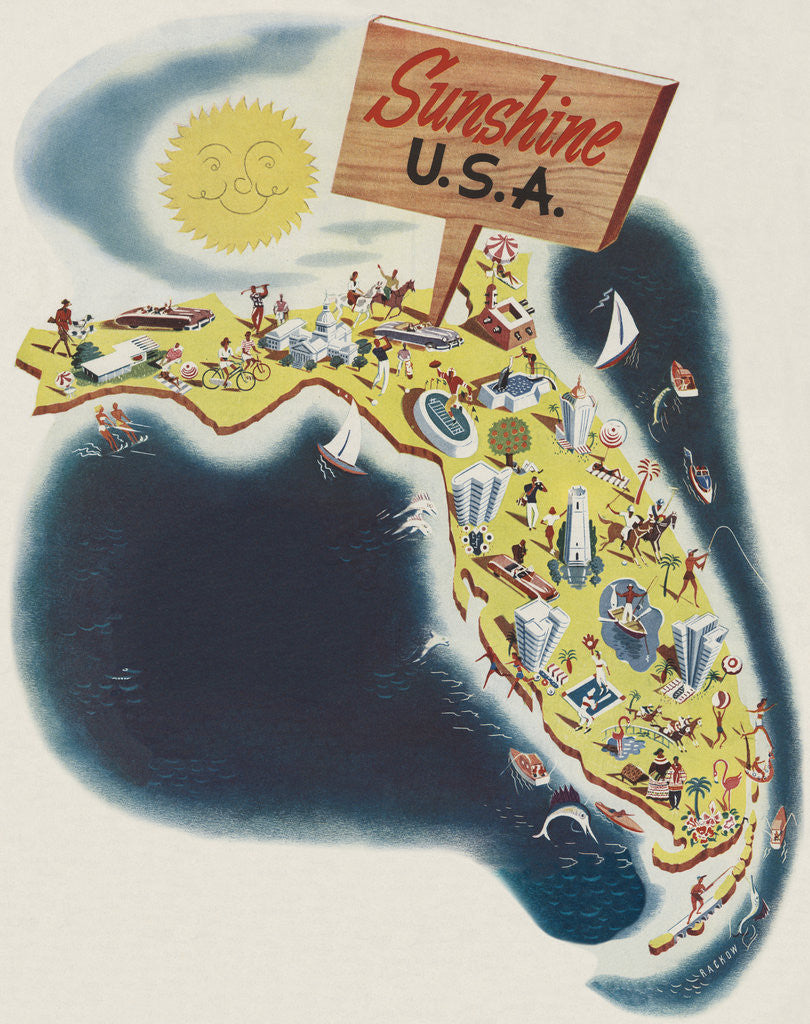 Detail of Florida the Sunshine State by Leo Rackow