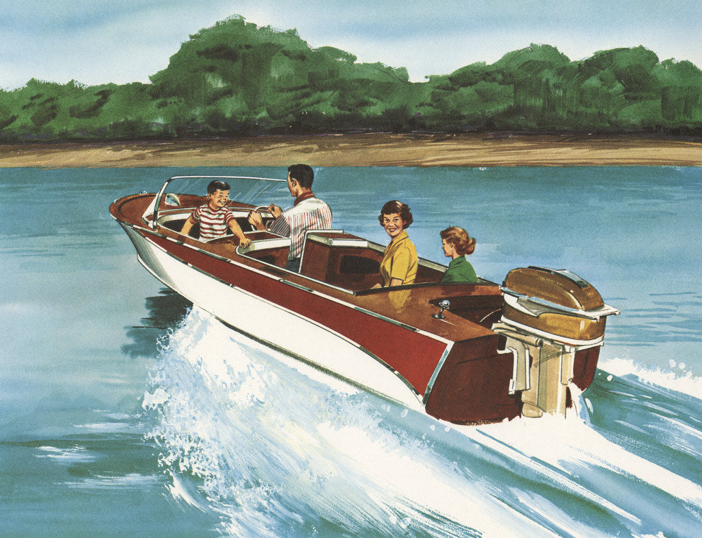 Detail of Illustration of Family in Speed Boat by Corbis