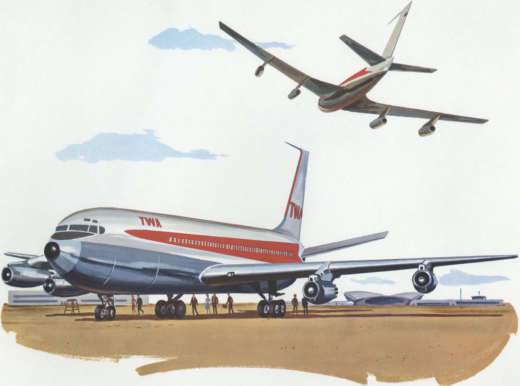 Detail of Illustration of Airplanes at Airport by Corbis