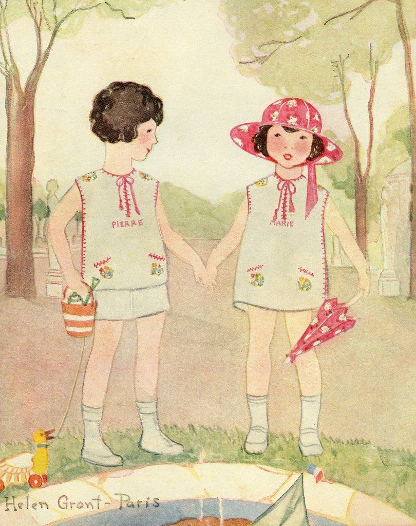 Illustration of Boy and Girl in Park