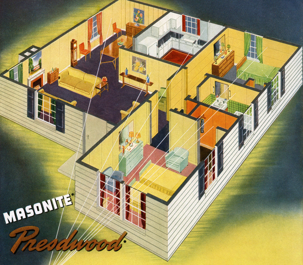 Detail of Illustration of Ideal American House Plan by Corbis