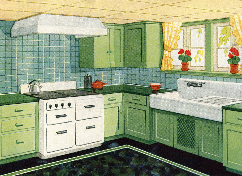 Detail of Illustration of Ideal American Kitchen by Corbis
