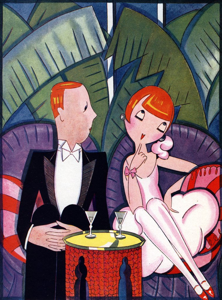 Detail of Illustration of 1920s Couple on Date by Fish by Corbis