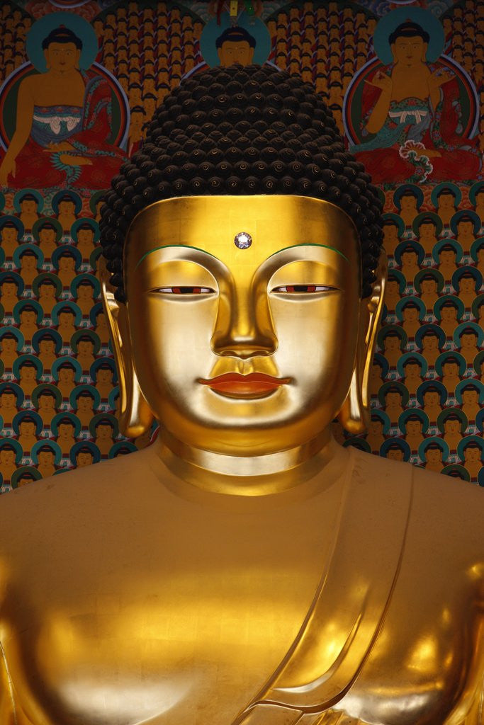 Detail of Detail of Sakyamuni Buddha Statue in Main Hall of Jogyesa Temple by Corbis