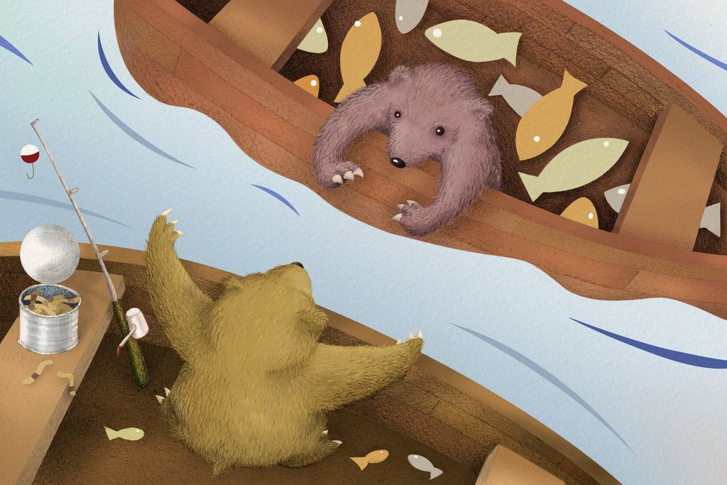 Detail of Bear Telling Exaggerated Fish Story by Corbis