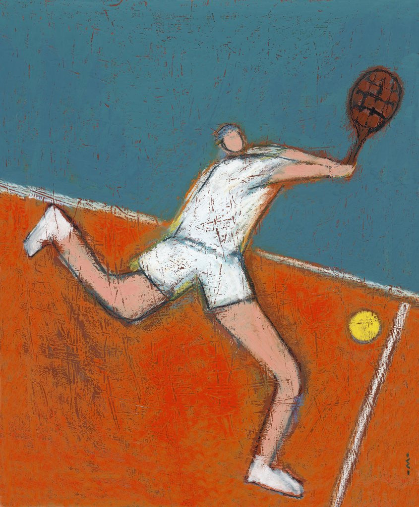 Detail of Man Playing Tennis by Corbis
