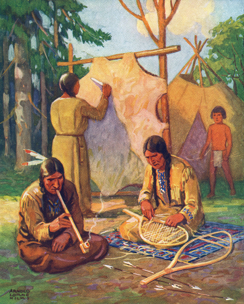 Illustration Of Daily Life In Native American Village Posters