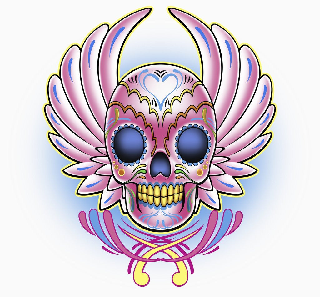 Detail of Day of the Dead skull with wings by Corbis