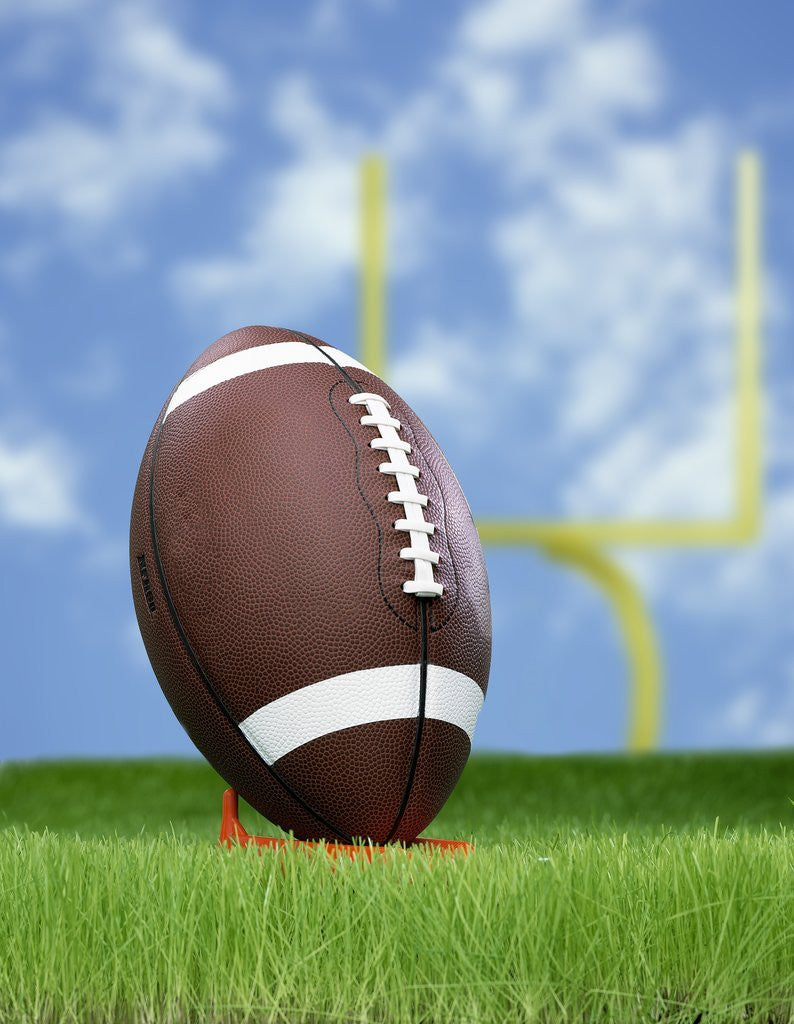 Detail of Football and field goal by Corbis
