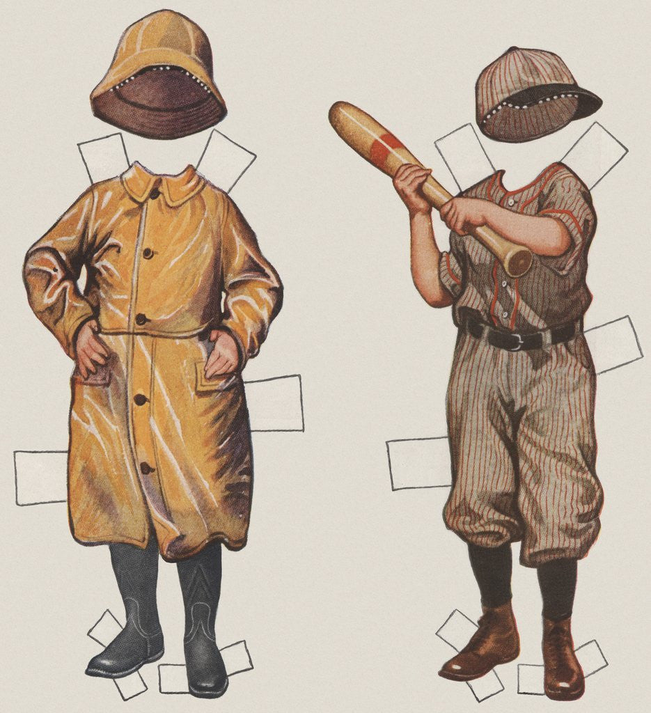 Detail of Paper doll boy with baseball uniform and rain slicker by Corbis
