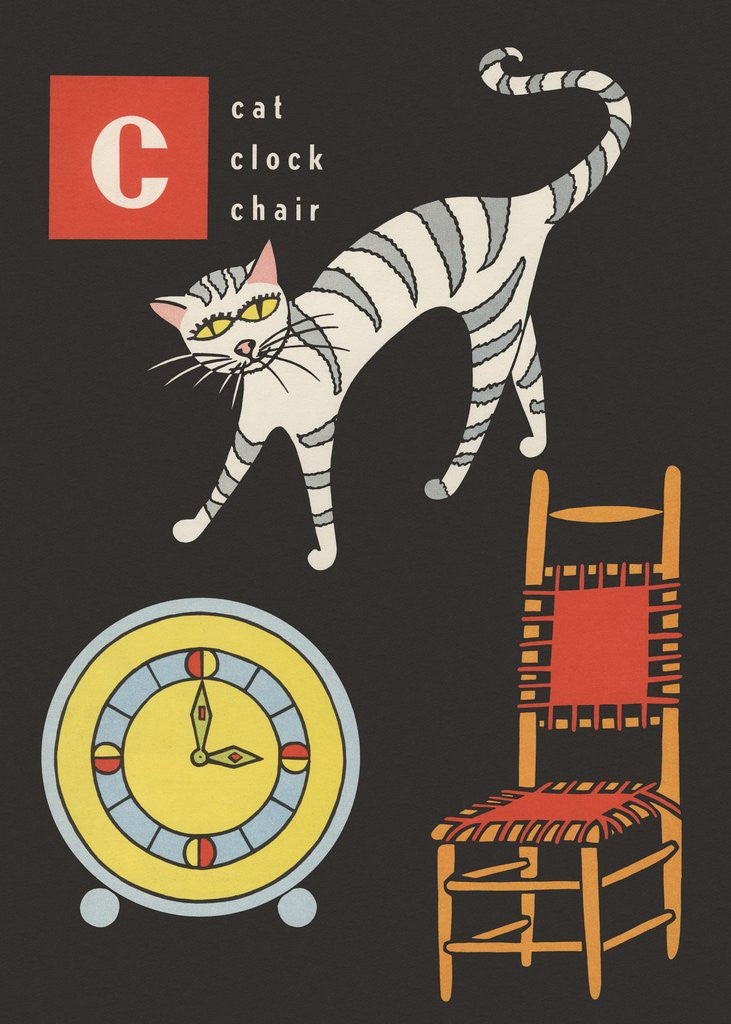 Detail of C is for cat clock chair by Corbis