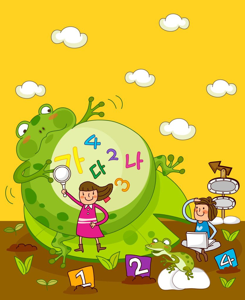Girl holding a magnifying glass with another girl using a laptop near a giant frog by Corbis