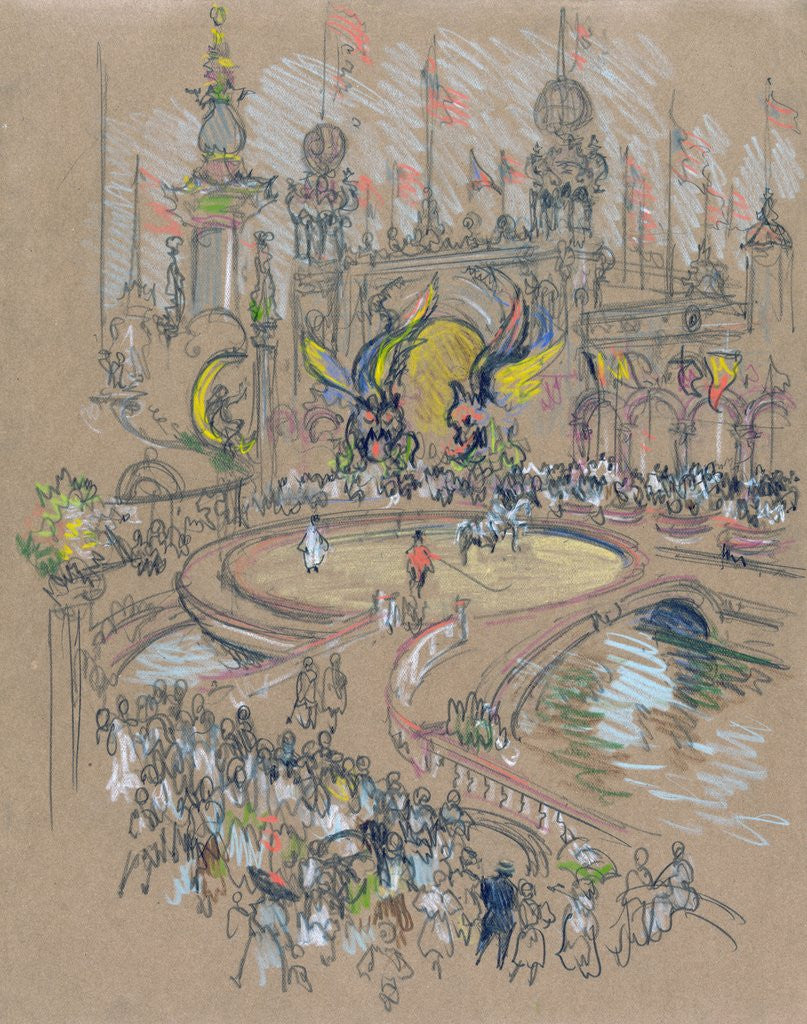 Detail of Coney Island by Joseph Pennell