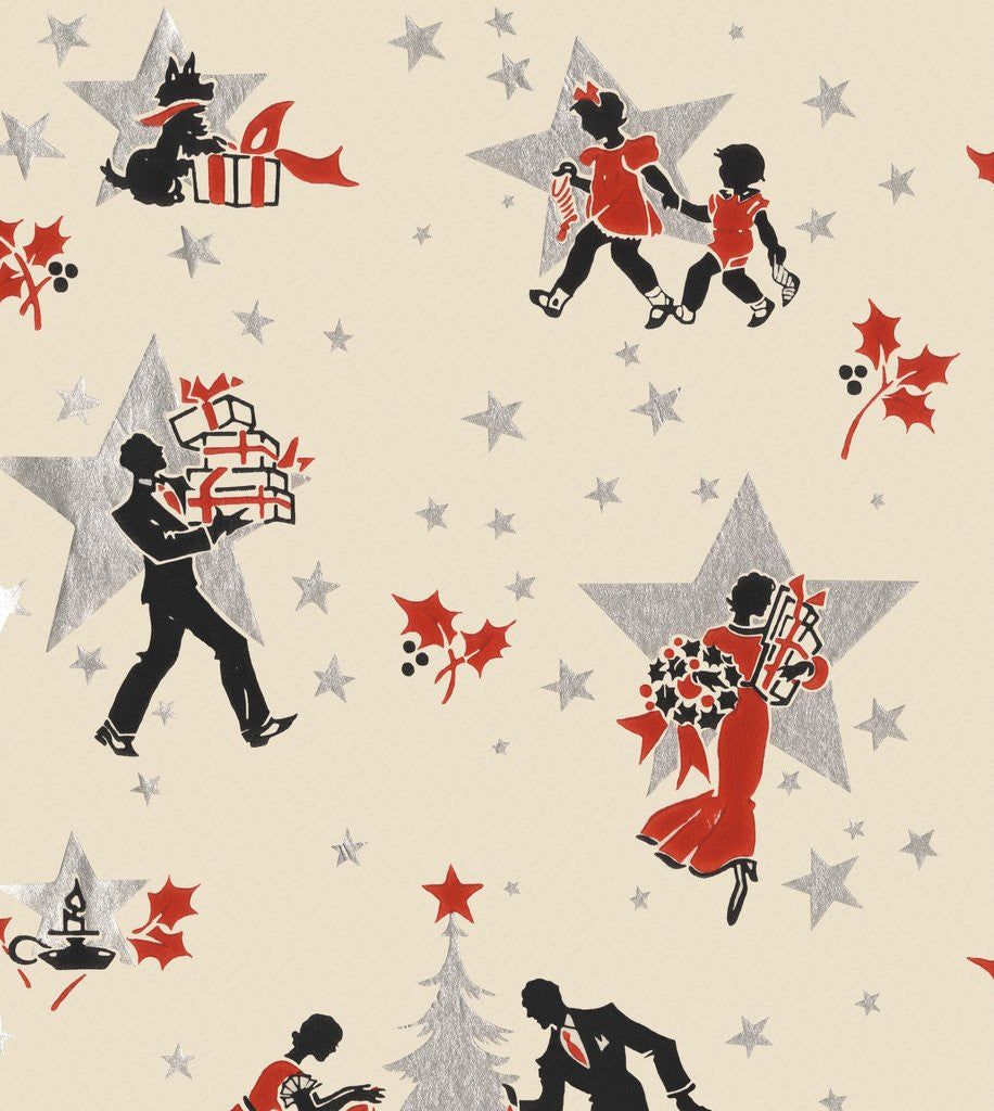 Detail of Illustration of family getting ready for Christmas by Corbis