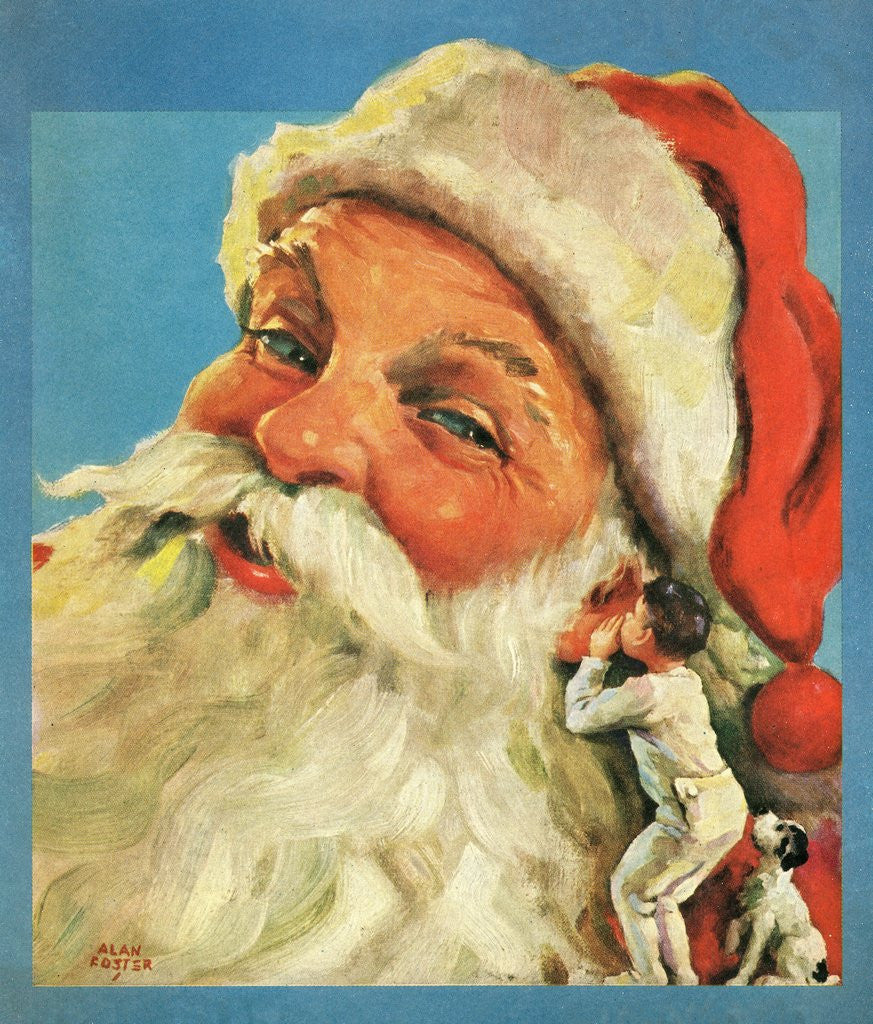 Detail of Boy whispering into Santa's ear by Corbis